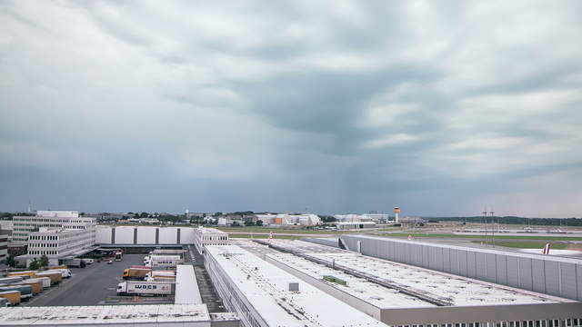 Time lapse sequence of a thunderstorm at airport