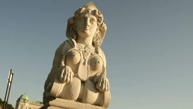 Sphinx in the castle park Belvedere Vienna – tracking shot