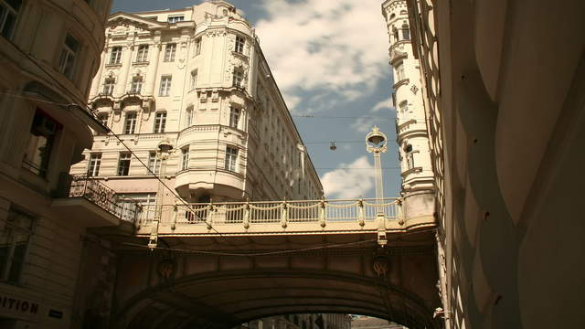 View of the historical city Vienna – tracking shot