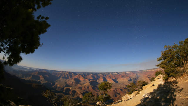 Grand Canyon in moonlight and morning twilight