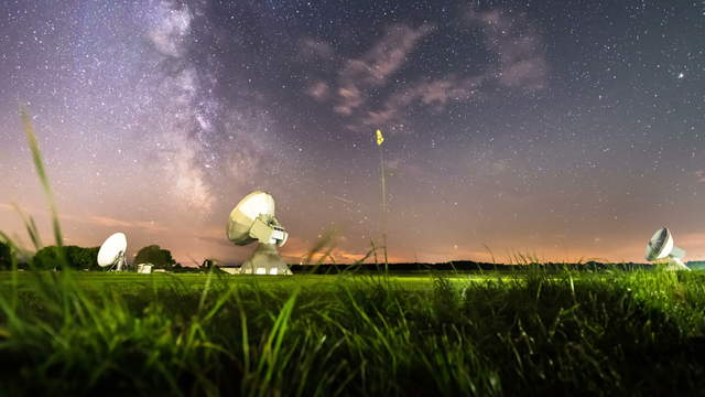 Milky Way with Satellite Dishes Timelapse Video