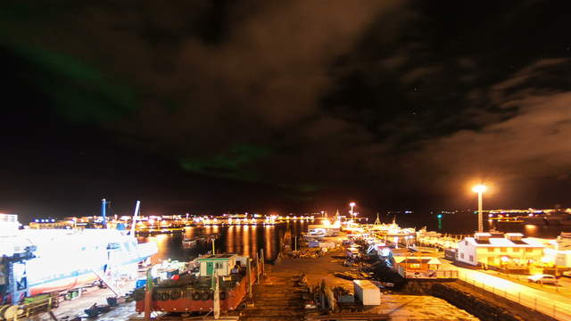 Aurora Borealis at the harbour of Reykjavík, Iceland