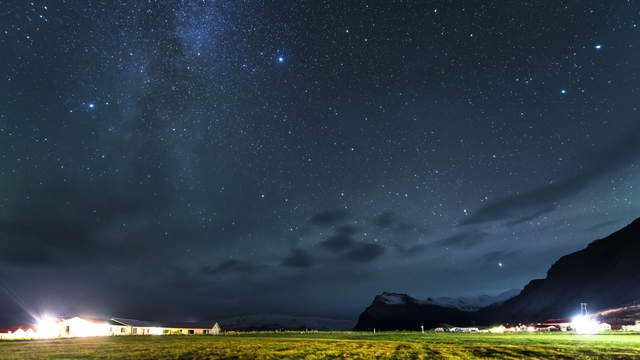 Night Sky Time-Lapse with Milky Way Austurland, Iceland