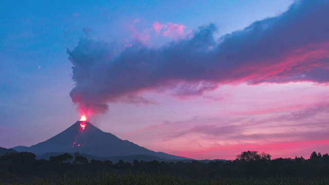 Active volcano releases ash and toxic gas