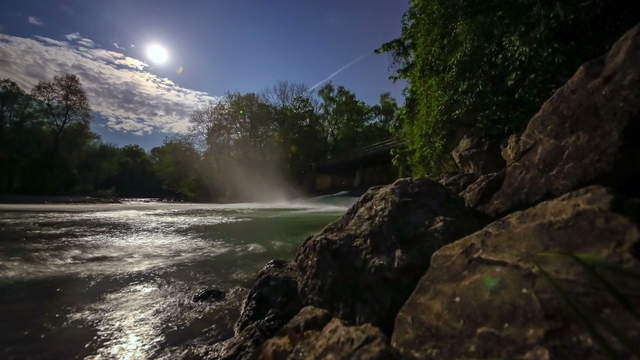 Moon at River Isar