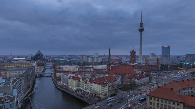 Berlin skyline - day-night transition